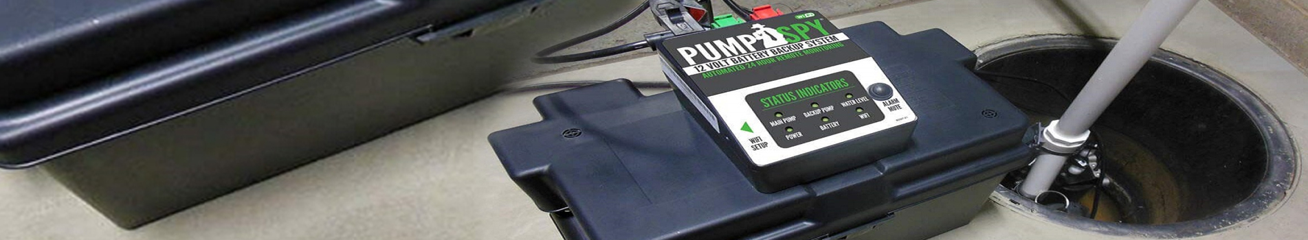 Battery backup sump pump system banner.